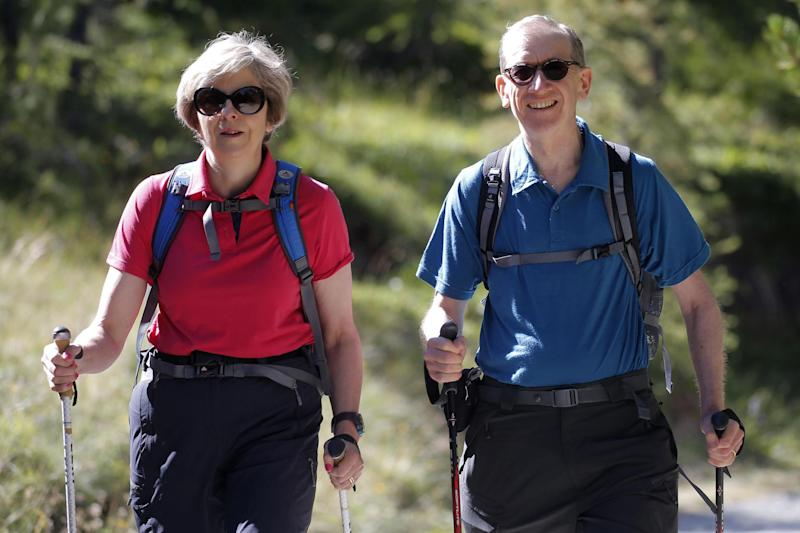 Change of heart: Theresa May decided to call an election while on holiday with husband Philip: PA