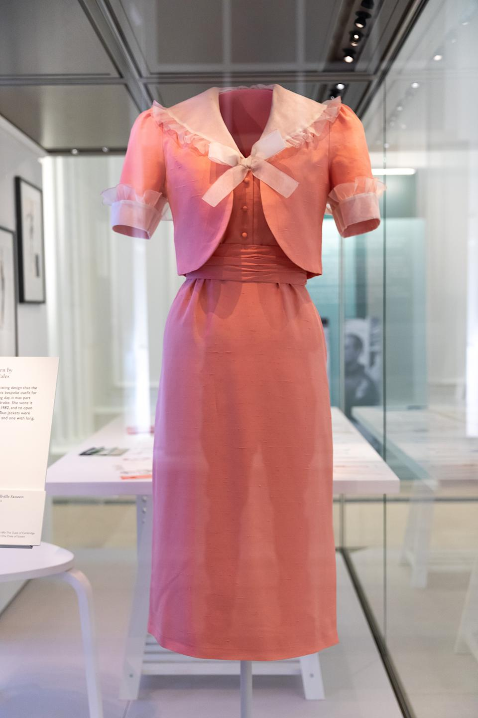 LONDON, ENGLAND - JUNE 02: A dress and jacket worn first worn by Diana, Princess of Wales on her wedding day on display during the