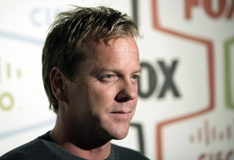 "FILE - In this Monday, Sept. 24, 2007 file photo, actor Kiefer Sutherland arrives at the Fox Fall Eco-Casino party in Los Angeles. Fox, facing the ebbing ratings power of ""American Idol,"" is betting big on its first miniseries showcase, starting with a limited-edition ""24,"" and shows from heavyweight producers Seth MacFarlane and J.J. Abrams to invigorate its schedule. The ""24"" miniseries will clock in at half its running length, and the 12 episodes will be chronological but will skip some hours, Kevin Reilly, Fox Entertainment chairman, said Monday, May 13, 2013. It likely will kick off the event franchise in May. (AP Photo/Matt Sayles, File)"