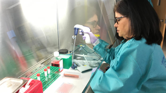 A demonstration of the equipment and procedures that will be used at the department's Viral and Rickettsial Disease Laboratory lab in Richmond, Calif., on Feb. 6, 2020, to conduct tests for novel coronavirus. This is not an actual test of a novel coronavirus specimen. (California Department of Public Health via AP)
