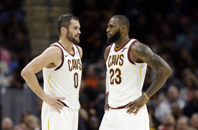 Kevin Love still has some hope that his days as LeBron James' teammate aren't over. (AP Photo)