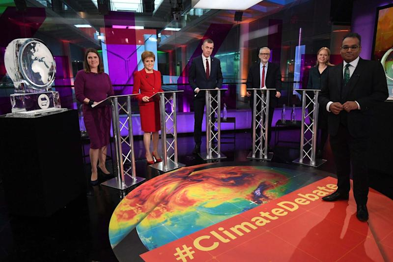 An ice sculpture takes the place of Boris Johnson in the Channel 4 leaders debate: AP