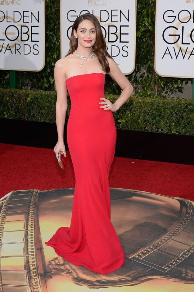Best: Emmy Rossum in Armani Privé at the 73rd Annual Golden Globe Awards.