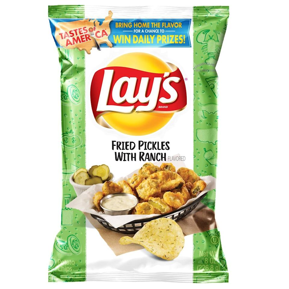 """<p>This creation from Lay's made its way to snack aisles everywhere as part of a """"Tastes of America"""" promotion that was only to last for a limited time, but Sam's Club shoppers dug the fried pickle-and-ranch taste enough for the chips to <a href=""""https://www.delish.com/food-news/a25953587/lays-fried-pickles-ranch-chips/"""" target=""""_blank"""">make a comeback</a>.</p>"""