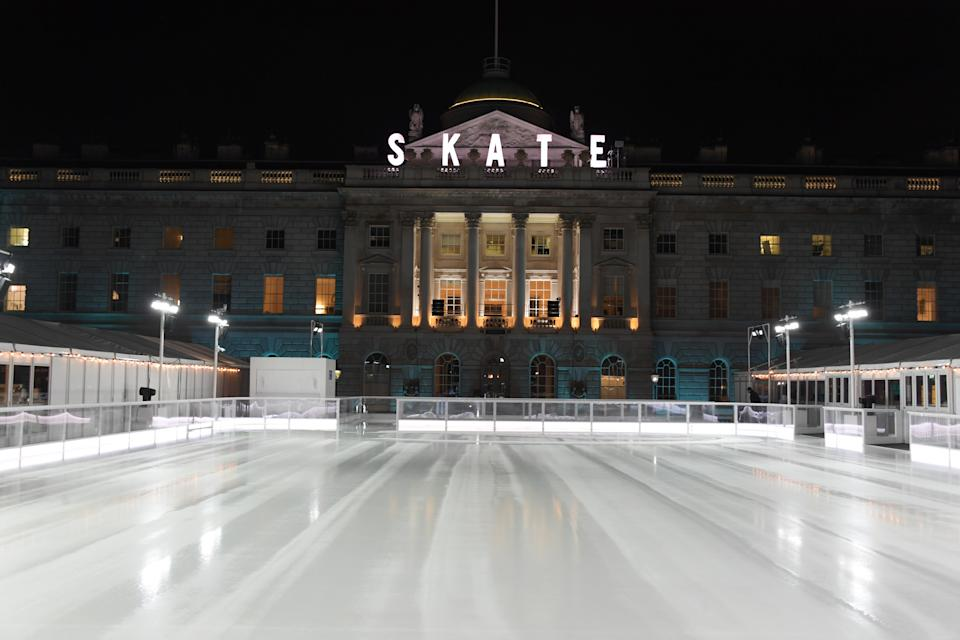 LONDON, ENGLAND - NOVEMBER 12:  A general view of the atmosphere at the opening party of Skate  at Somerset House on November 12, 2019 in London, England. Celebrating its 20th anniversary, London's favourite festive destination opens at Somerset House on Wednesday 13th November and runs until Sunday 12th January 2020.  (Photo by David M. Benett/Dave Benett/Getty Images for Fortnum & Mason)