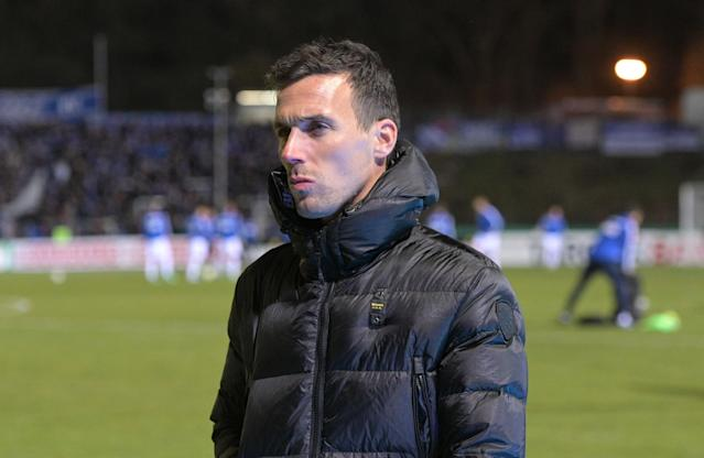 Karlsruhes Coach Christian Eichner (Photo by Oliver Dietze/picture alliance via Getty Images)