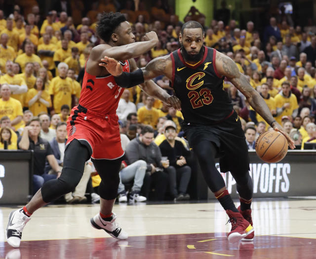 LeBron James swept aside OG Anunoby and the Raptors on Monday night. (AP)