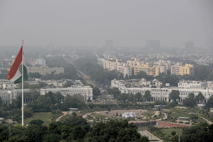 """A thin layer of smog is seen on Delhi's skyline in New Delhi, India, Wednesday, Oct. 16, 2019. The Indian capital's air quality levels have plunged to """"poor,"""" a day after the government initiated stricter measures to fight chronic air pollution. The state-run Central Pollution Control Board's air quality index for New Delhi stood at 299 on Wednesday, about six times the recommended level. (AP Photo/Altaf Qadri)"""