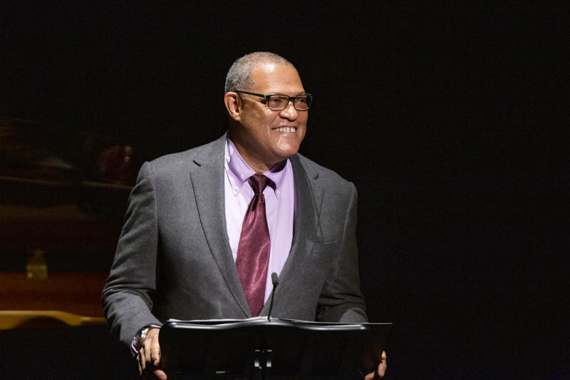 Laurence Fishburne speaks to attendees during the memorial of late actress Diahann Carroll at the Helen Hayes Theater on Sunday, Nov. 24, 2019 in New York.(AP Photo/Eduardo Munoz Alvarez)