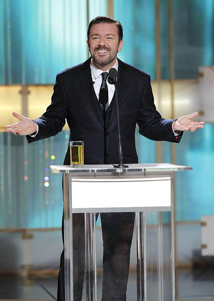 "Ricky Gervais hosts a rather controversial Golden Globe Awards on January 16, 2011, where the comedian was accused of being too harsh in his treatment of certain celebs during the telecast. ""If they didn't want me, they shouldn't have hired me,"" Gervais said on CNN's ""Piers Morgan Tonight"", adding, ""I'm not going to apologize for being true to myself. My strategy is to make me laugh. If there's anyone in the world like me, that's a bonus."" (Handout/GettyImages.com)"