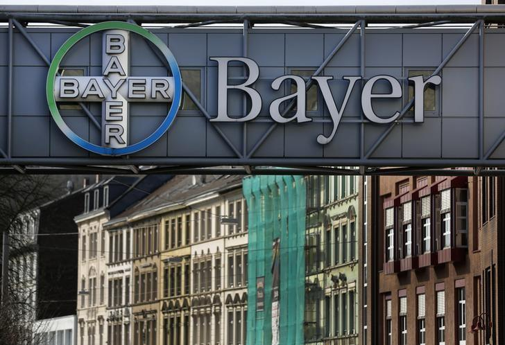 FILE PHOTO - The logo of Bayer AG is pictured at the Bayer Healthcare subgroup production plant in Wuppertal