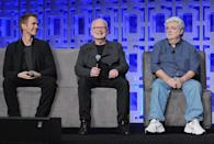 <p>Hayden Christensen, Ian McDiarmid and George Lucas (Photo: Gerardo Mora/Getty Images) </p>