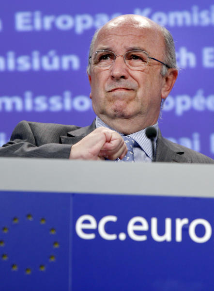 FILE - In this Sept. 20, 2011 file photo, European Union Commissioner for Competition Joaquin Almunia speaks during a media conference at EU headquarters in Brussels. A European court on Wednesday, June 27, 2012 upheld most of a massive fine levied against Microsoft by the European Commission's competition watchdog, closing a case against the software giant that began in 1998. (AP Photo/Virginia Mayo, File)
