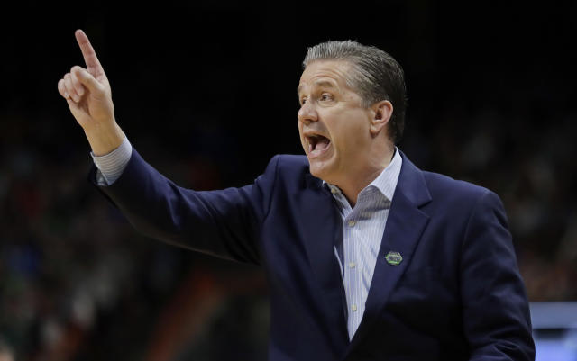 Kentucky head coach John Calipari calls to his team during the first half of a second-round game against Buffalo in the NCAA men's college basketball tournament Saturday, March 17, 2018, in Boise, Idaho. (AP Photo/Ted S. Warren)