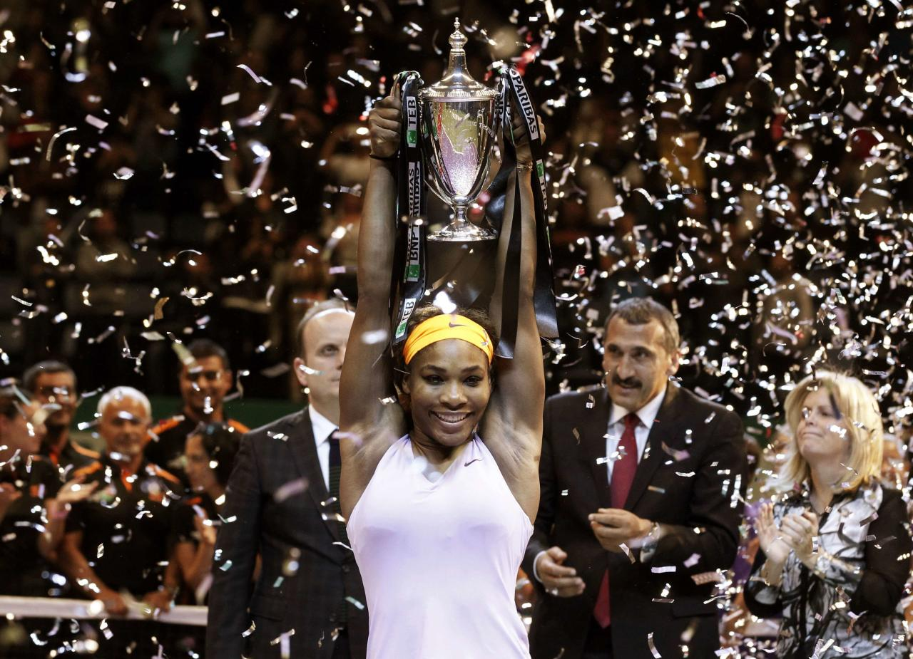 RNPS - PICTURES OF THE YEAR 2013 - Serena Williams of the U.S. celebrates her victory against Li Na of China after their WTA tennis championships final match in Istanbul October 27, 2013. REUTERS/Osman Orsal (TURKEY - Tags: SPORT TENNIS TPX)