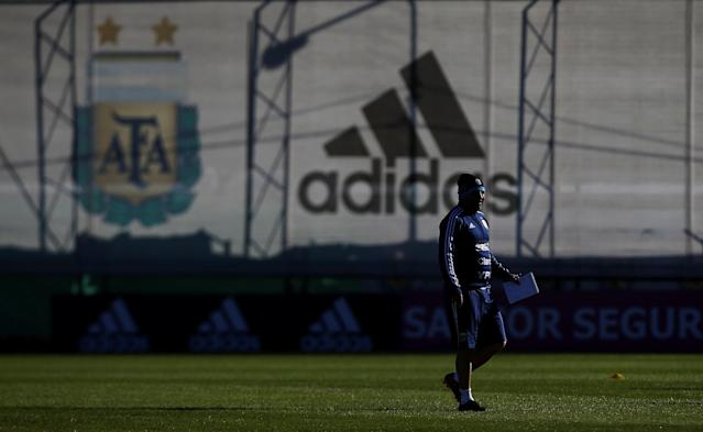 Football Soccer - Argentina's national soccer team training - World Cup 2018 - Buenos Aires, Argentina - May 24, 2018 - Jorge Sampaoli, head coach of Argentina arrives to a training session. REUTERS/Agustin Marcarian