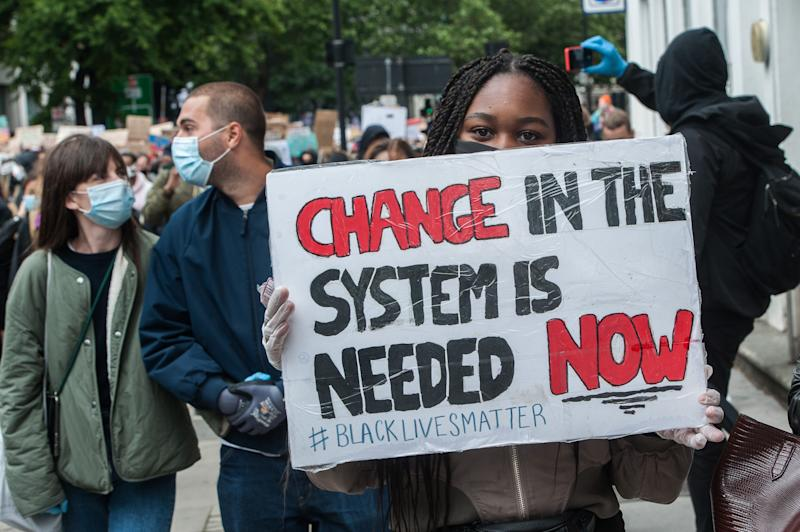 A protest this past weekend in London. (Guy Smallman/Getty Images)