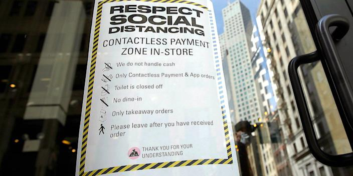 A social distancing sign in San Francisco, California, on March 17, 2020.