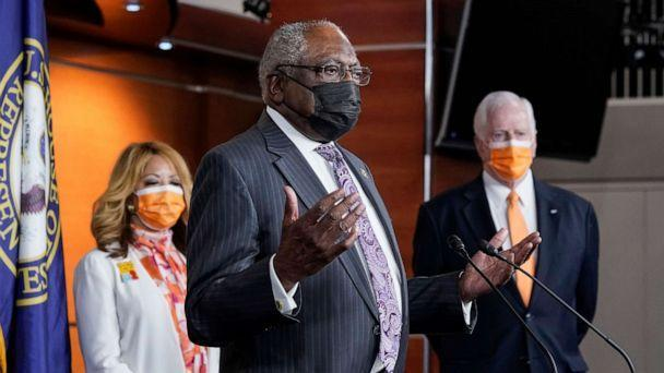 PHOTO: House Majority Whip James Clyburn, with Rep. Lucy McBath and Rep. Mike Thompson, chairman of the House Gun Violence Prevention Task Force, speaks a news conference on passage of gun violence prevention legislation in Washington, March 11, 2021. (J. Scott Applewhite/AP)
