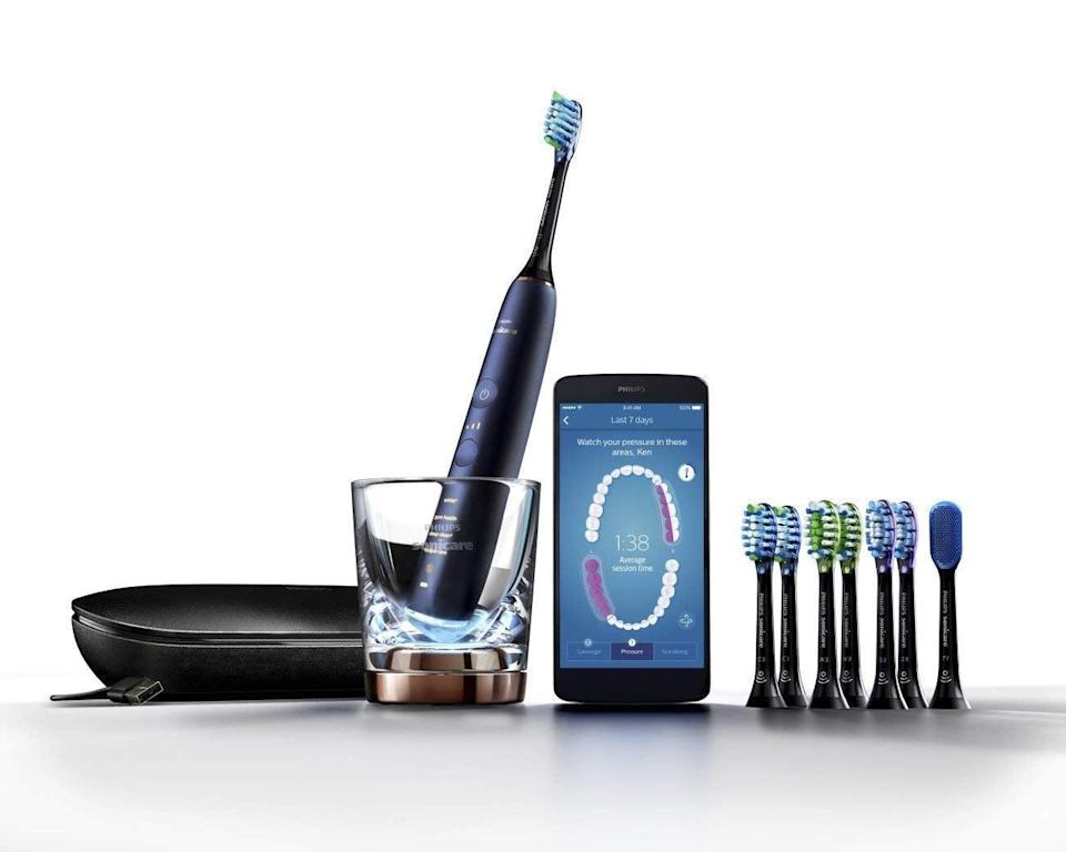 """<p>No one will be able to refuse this <a href=""""https://www.popsugar.com/buy/Philips-Sonicare-DiamondClean-Smart-Electric-Rechargeable-Toothbrush-401550?p_name=Philips%20Sonicare%20DiamondClean%20Smart%20Electric%20Rechargeable%20Toothbrush&retailer=amazon.com&pid=401550&price=265&evar1=geek%3Aus&evar9=36026397&evar98=https%3A%2F%2Fwww.popsugar.com%2Ftech%2Fphoto-gallery%2F36026397%2Fimage%2F45754537%2FPhilips-Sonicare-DiamondClean-Smart-Electric-Rechargeable-Toothbrush&list1=gifts%2Camazon%2Choliday%2Cgift%20guide%2Cdigital%20life%2Ctech%20shopping%2Ctech%20gifts%2Cgifts%20for%20men%2Cbest%20of%202019&prop13=mobile&pdata=1"""" class=""""link rapid-noclick-resp"""" rel=""""nofollow noopener"""" target=""""_blank"""" data-ylk=""""slk:Philips Sonicare DiamondClean Smart Electric Rechargeable Toothbrush"""">Philips Sonicare DiamondClean Smart Electric Rechargeable Toothbrush</a> ($265).</p>"""