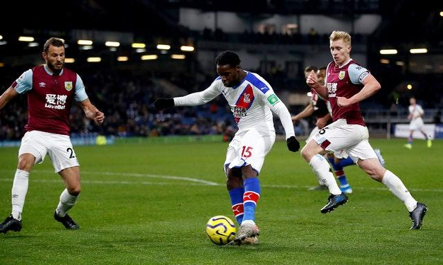 Jeffrey Schlupp made the points safe for Palace with the second goal at Turf Moor (Martin Rickett/PA)