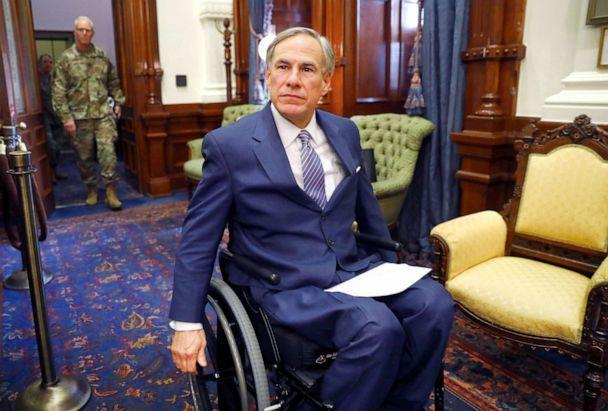 PHOTO: Texas Governor Greg Abbott arrives for a press conference at the Texas State Capitol in Austin, March 29, 2020. (Pool via Getty Images, FILE)