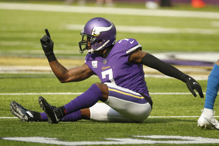 Minnesota Vikings cornerback Patrick Peterson (7) reacts after breaking up a pass during the second half of an NFL football game against the Detroit Lions, Sunday, Oct. 10, 2021, in Minneapolis. (AP Photo/Bruce Kluckhohn)
