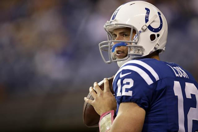 Indianapolis Colts quarterback Andrew Luck throws before an NFL football game against the Seattle Seahawks in Indianapolis, Sunday, Oct. 6, 2013. (AP Photo/AJ Mast)