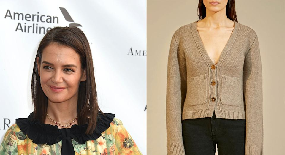 Katie Holmes was pictured wearing a cashmere cardigan with a matching bralette [Photo: Getty Images]