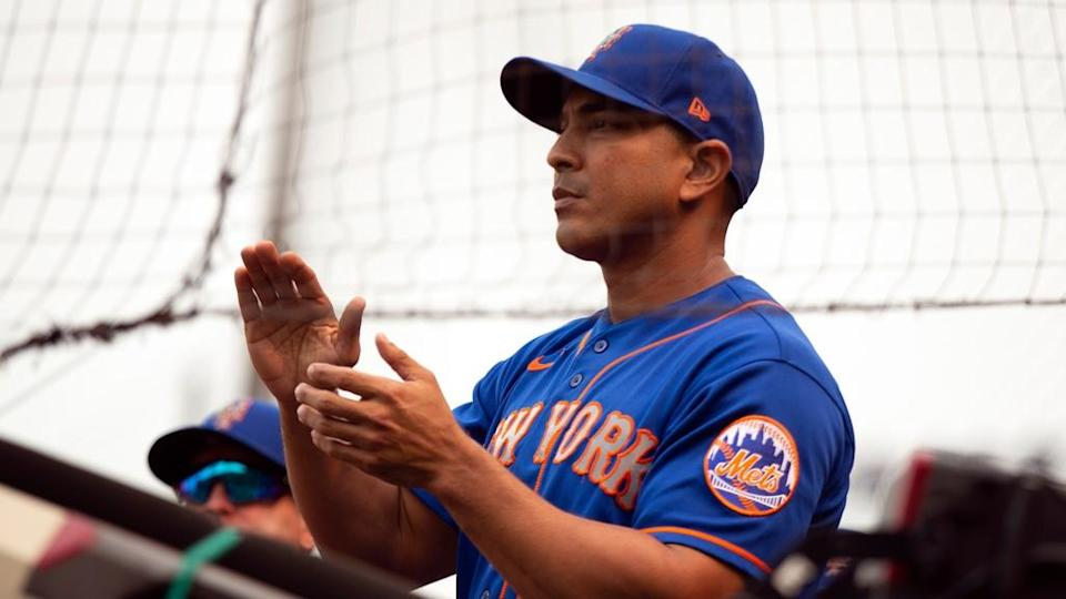 Aug 18, 2021; San Francisco, California, USA; New York Mets manager Luis Rojas (19) celebrates his team during the 11th inning against the San Francisco Giants at Oracle Park.