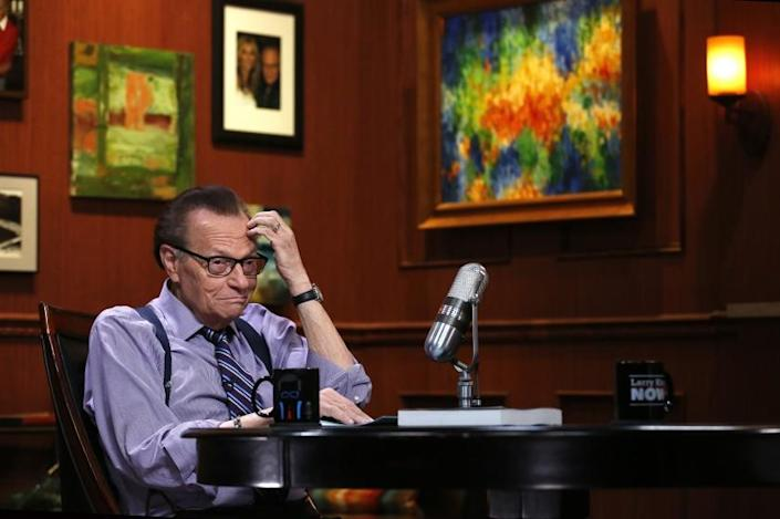 Larry King between segments while recording an interview with Moby for Larry King Now which is broadcast on Ora TV.