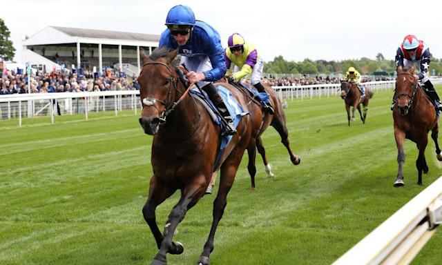 <span>Harry Angel and the jockey Adam Kirby and take the Duke Of York Stakes at the Dante meeting.</span> <span>Photograph: Mick Atkins/ProSports/Rex/Shutterstock</span>