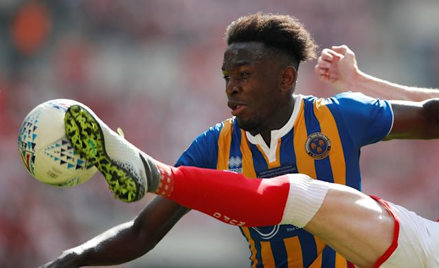 "Soccer Football - League One Play-Off Final - Rotherham United v Shrewsbury Town - Wembley Stadium, London, Britain - May 27, 2018 Shrewsbury Town's Aristote Nsiala in action Action Images/Carl Recine EDITORIAL USE ONLY. No use with unauthorized audio, video, data, fixture lists, club/league logos or ""live"" services. Online in-match use limited to 75 images, no video emulation. No use in betting, games or single club/league/player publications. Please contact your account representative for further details."