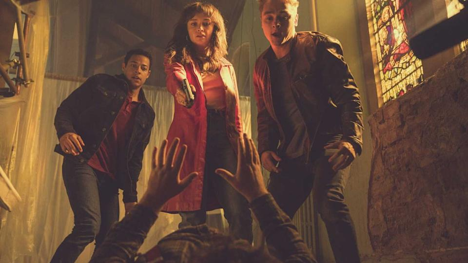 Olivia Cooke as Pixie Ben Hardy as Frank and Daryl McCormack Harland McKenna