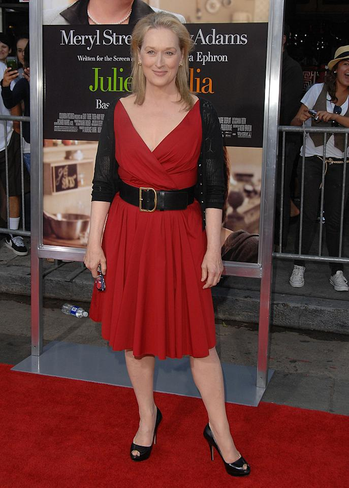 """<a href=""""http://movies.yahoo.com/movie/contributor/1800018835"""">Meryl Streep</a> at the Los Angeles premiere of <a href=""""http://movies.yahoo.com/movie/1810006886/info"""">Julie & Julia</a> - 07/27/2009"""