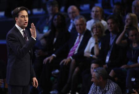 Britain's opposition Labour party leader Miliband makes his keynote speech at the annual party conference in Brighton