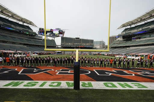 """The Cincinnati Bengals stand arm in arm as """"Lift Every Voice and Sing"""" is played before an NFL football game between the Cincinnati Bengals and the Los Angeles Chargers, Sunday, Sept. 13, 2020, in Cincinnati. (AP Photo/Bryan Woolston)"""