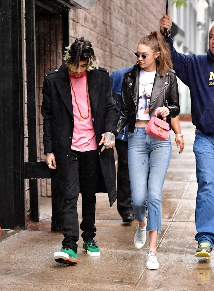 <p>Both wearing pops of millennial pink while out in New York City on May 13, 2017.</p>