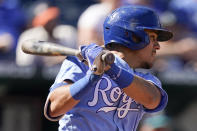 Kansas City Royals' Nicky Lopez hits an RBI single during the sixth inning of a baseball against the Seattle Mariners game Sunday, Sept. 19, 2021, in Kansas City, Mo. (AP Photo/Charlie Riedel)