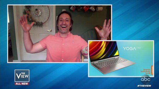 PHOTO: Special education teacher Michael Tricarico is gifted a Lenovo laptop for Teacher Appreciation Week on 'The View' Wednesday, May 6, 2020. (ABC)