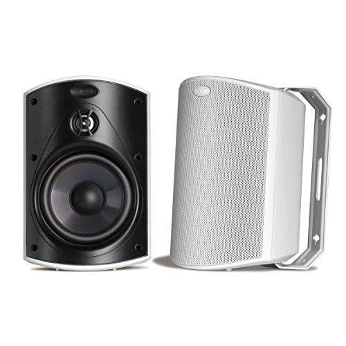 """<p><strong>Polk Audio</strong></p><p>amazon.com</p><p><strong>$249.00</strong></p><p><a href=""""https://www.amazon.com/dp/B00378KMFA?tag=syn-yahoo-20&ascsubtag=%5Bartid%7C2139.g.34788908%5Bsrc%7Cyahoo-us"""" rel=""""nofollow noopener"""" target=""""_blank"""" data-ylk=""""slk:BUY IT HERE"""" class=""""link rapid-noclick-resp"""">BUY IT HERE</a></p><p>Polk Audio brings a minimal design and solid sound system to any outdoor area. You get a pair of either black or white speakers that easily mount to any wall, deck, or railing. They have over 500 near perfect reviews on Amazon from users gushing over how great the sound is and comparable to Bose for a lower price point.</p><p>The sturdy brackets allow for slight rotation to optimize sound in different areas. Plus, if you get sick of the placement, you can easily demount with their patented snap and lock bracket closure. The pair delivers a super wide listening angle, making this the best option for oddly shaped areas. These speakers are made for all weather and pass the rugged durability test of withstanding extreme temperatures and heavy rain.</p>"""