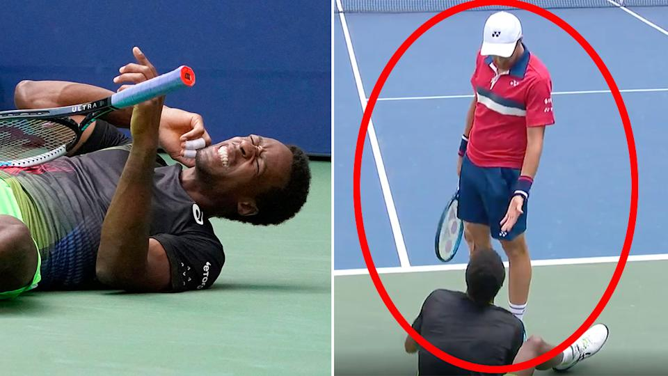 Seen here, Steve Johnson hols out a helping hand for Gael Monfils at the US Open.
