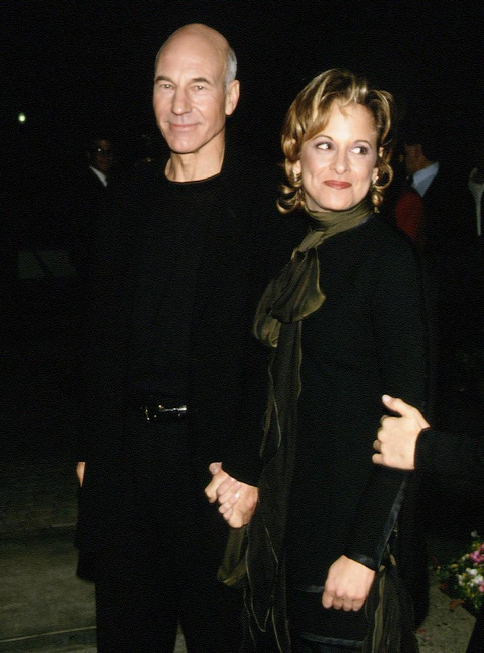 <p>Patrick Stewart (Captain Jean-Luc Picard) and wife Wendy Nuess attend the Los Angeles premiere of the first <i>Next Generation </i>movie on Nov. 17, 1994. Nuess was a <i>Star Trek</i> TV producer. <i>(Photo: Frank Trapper/Getty Images)</i></p>