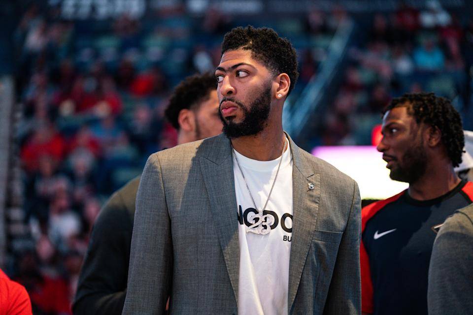 NEW ORLEANS, LOUISIANA - MARCH 28: Anthony Davis of the New Orleans Pelicans looks on during a game against the Sacramento Kings at Smoothie King Center on March 28, 2019 in New Orleans, Louisiana. NOTE TO USER: User expressly acknowledges and agrees that, by downloading and or using this photograph, User is consenting to the terms and conditions of the Getty Images License Agreement. (Photo by Cassy Athena/Getty Images)