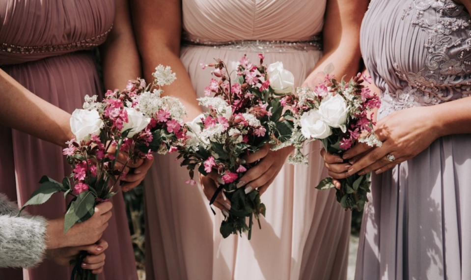 The bridesmaids on the big day. (SWNS)
