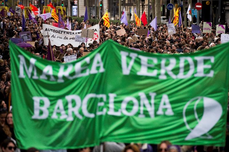 Protests took to the streets in Madrid, Barcelona, Sevilla, Valencia, and Bilbao, reflecting how the fight on violence against woman has become a national cause in Spain (AFP Photo/Josep LAGO)