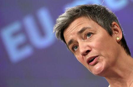 FILE PHOTO: European Competition Commissioner Margrethe Vestager talks to the media at the European Council headquarters in Brussels, Belgium February 6, 2019. REUTERS/Yves Herman