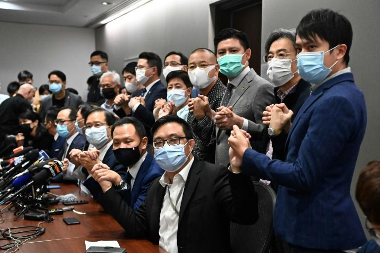 Hong Kong's pro-democracy lawmakers resigned en masse when authorities disqualified four of their colleagues because of their political views