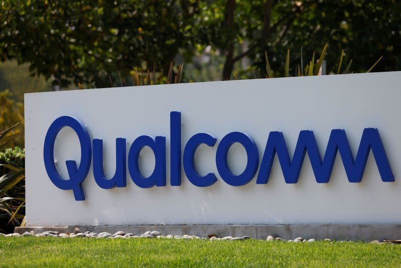 FILE PHOTO: Qualcomm sign shown in San Diego
