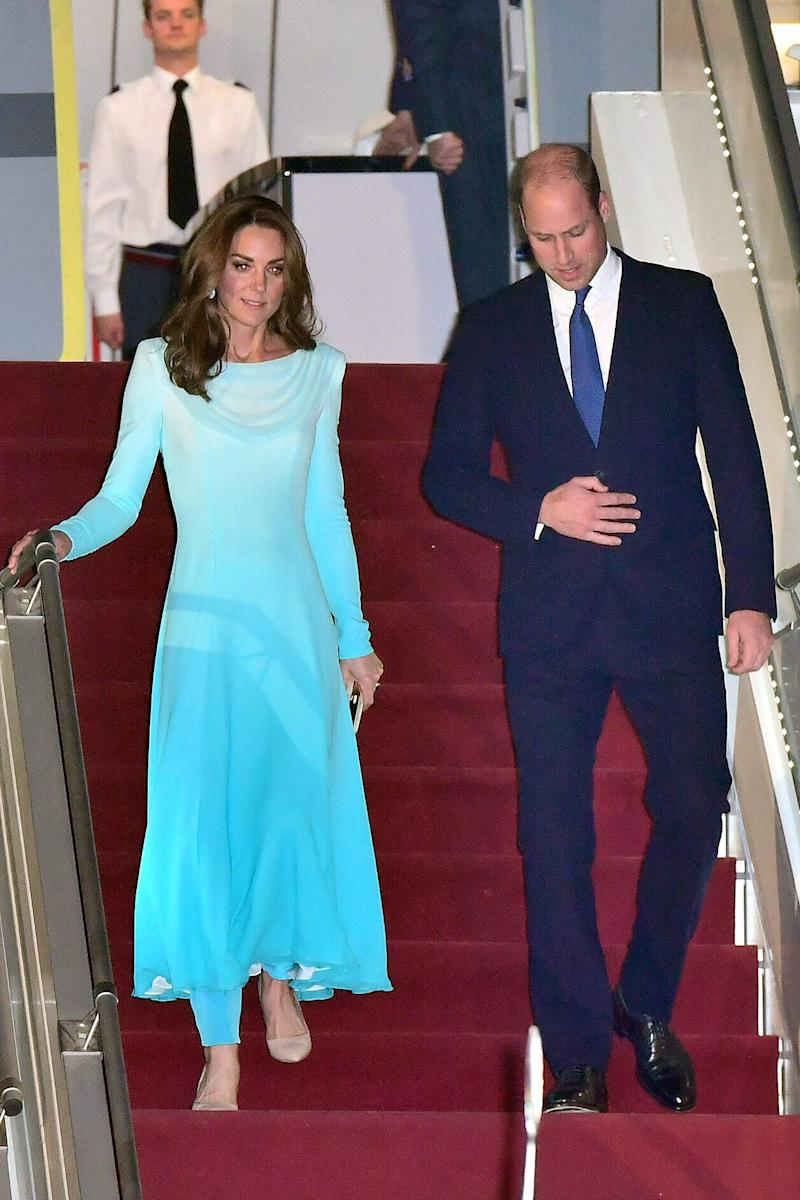 The Duke and Duchess of Cambridge arrive at Pakistani Air Force Base Nur Khan on Oct. 14 in Rawalpindi, Pakistan. The two are on a visit to Pakistan at the request of the Foreign and Commonwealth Office. (Photo: Samir Hussein via Getty Images)